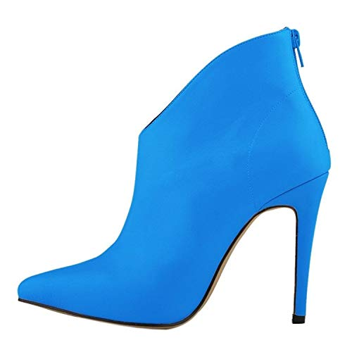 Best Rated for Winter Gift Loafers-Shoes Womens Elegant and Simple Zip Slip On Pointed Toe Stiletto High Heel Pump Shoes,39MEU/8B(M) US,Blue -