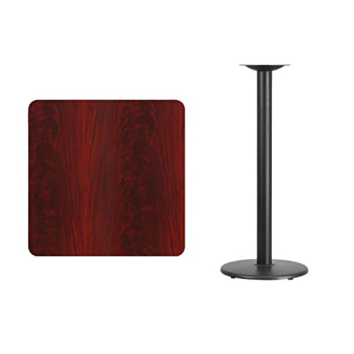 Flash Furniture 30'' Square Mahogany Laminate Table Top with 18'' Round Bar Height Table Base by Flash Furniture