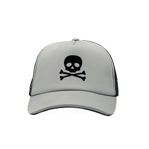 (Born to Love Baby Boy Infant Trucker Hat Snap Back Sun Mesh Baseball Cap (L), Gray Skull)