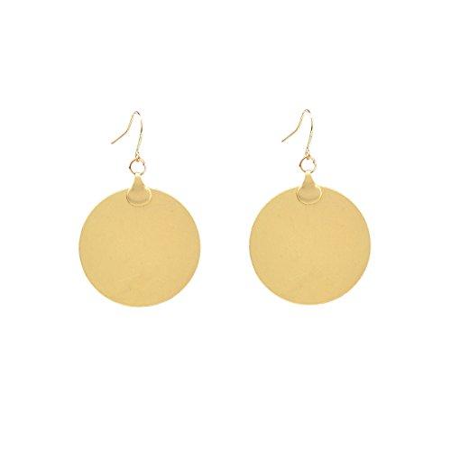 Fancymix Shiny Sequins Beauty Gold Tone Metal Circle Disc Drop Earrings for Women