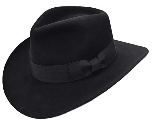(Ubanhatshop Men's Wool Felt Crushable Indiana Jones Outback Safari Fedora Cowboy Western Hat (L/XL, Black))