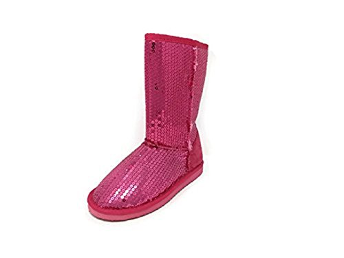 Ameta Women's Mid Calf Warm Sequin Winter Snow Boots Booties Shoes (Fuschia) (10) (For Sequin Boots Women Winter)