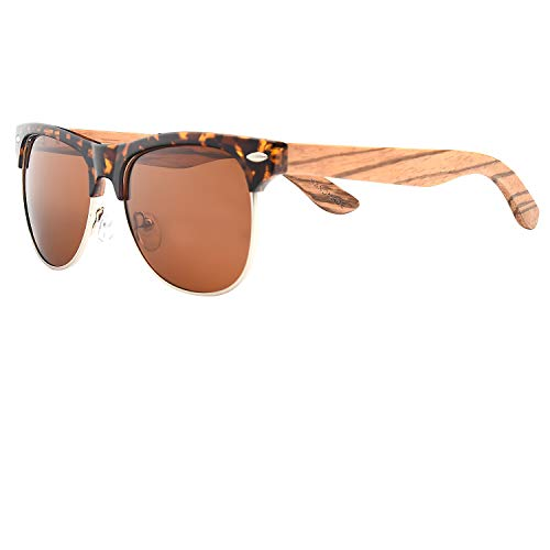 Ablibi Bamboo Wood Semi Rimless Sunglasses with Polarized Lenses in Original Boxes (Zebra Wood, Brown)