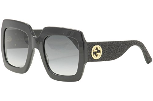 Gucci GG0102S 001 Black / Grey GG0102S Square Sunglasses Lens Category 3 Size - Square Sunglasses Gucci Black