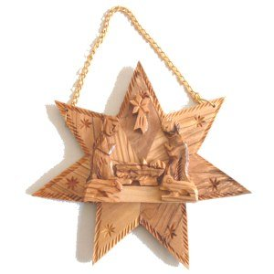 Olive Wood Nativity Scene Set in one piece inside Star of Bethlehem (14.5 cm or 5.5'' diameter)