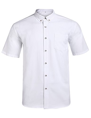 (Jeopace Men's Dress Shirts Short Sleeve Button Down Big & Tall,Stretch (White, XL/195))