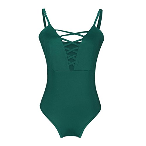 Slimming Pezzo Beach 1 Push Bathing Up Green Bandages Bikini Fashion Adeshop Swimsuit Colour Chic Pure Donna xOn01xwfq7