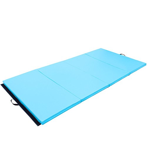 Exercise Tumbling Mat 4'x8'x2 PU Gymnastics Gym Folding Panel Yoga Pad 4 Blue with Ebook