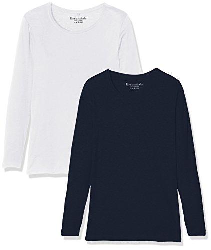 Evans 2 Pack Long Sleeve, Camiseta de Manga Larga para Mujer, Pack de 2 Azul/Blanco
