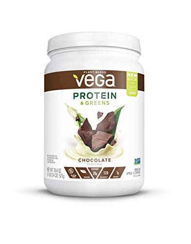 Vega Protein & Greens Chocolate (16 Servings, 18.4oz, 521g) - Plant Based Vegan Protein Powder, Keto-Friendly, Gluten Free,  Non Dairy, Non Soy, Non GMO