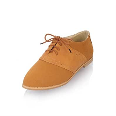 New Fashion Oxfords Shoes Womens Flat Pointed Shoes Students Casual Shoes (4.5, Dark yellow)