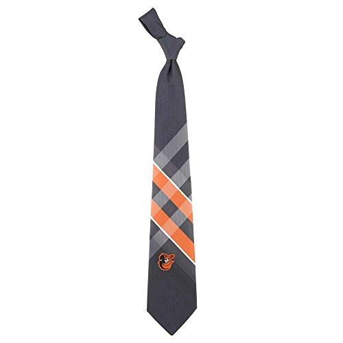 Baltimore Orioles Grid Neck Tie with MLB Baseball Team Logo - Mlb Necktie