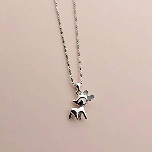 LYS Womens Necklace, 925 Silver Cute Fawn Pendant Fresh Clavicle Necklace Fashion Simple and Convenient