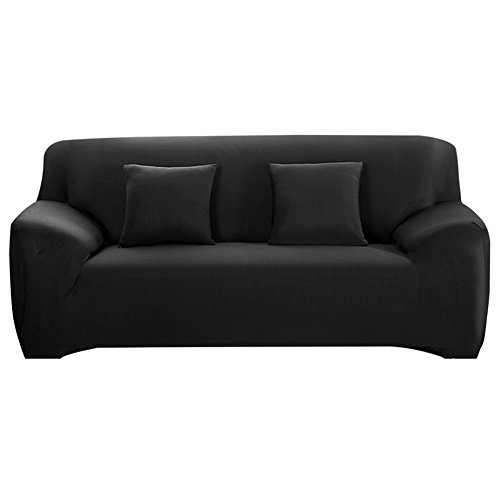 Couch Cover Stretch Spandex Sofa Slipcover Fitted 3 Cushion Couch Protector (Black) - 3 Cushion