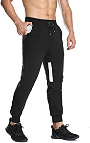 Giorzio Men's Sweatpants with Zipper Pockets,Traning Joggers Casual Pants Athletic Pants for Workout,Run