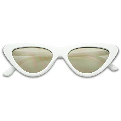 SunglassUP Slim 1990's Streamlined Narrow Flat Lens Cat Eye Mirrored Sunglasses (White Frame | Gold)