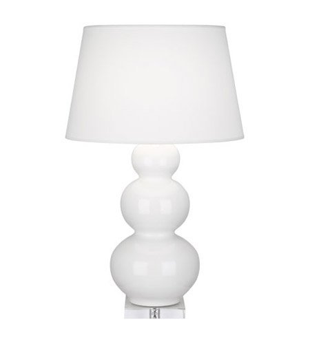 Robert Abbey A351X Lamps with Pearl Dupioni Fabric Shades, Lucite Base/Lily Glazed Ceramic Finish ()