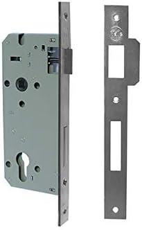 Cerradura para enhebrar puertas de madera, con frontal borde cuadro, entrada 60 mm, distancia entre ejes 85 mm