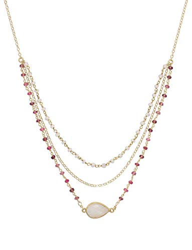Strand Gold 14k Three (14k Gold-filled Three-Strand Rainbow Moonstone and Tourmaline Necklace)
