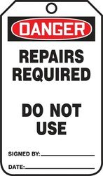 Accuform MDT015PTP RP-Plastic SAFETY Tag, Legend''DANGER Repairs Required Do Not Use'', 5.75'' Length x 3.25'' Width x 0.015'' Thickness, Red/Black on White (Pack of 25)