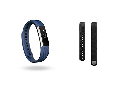 Fitbit Alta (Blue, Large) + Accessory Band (Black, Large) by Fitbit