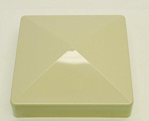 USA Premium Store 2 pcs 5'' PVC Fence Post Flat Pyramid Caps Tops Vinyl Sand Tan