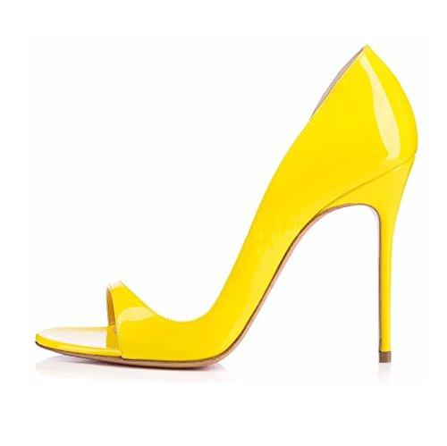 amarillo Zapatos tacón EDEFS con Mujer 7POqFX4