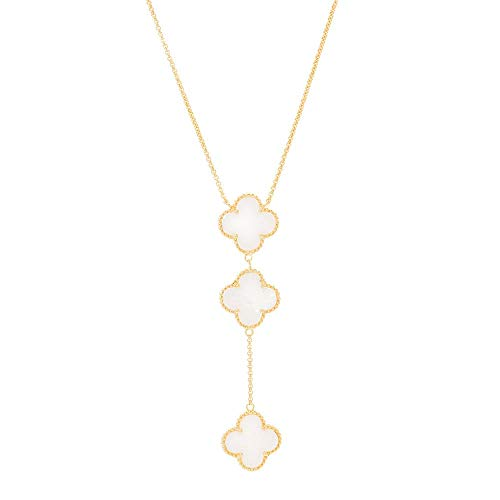 (Time 2 Shine Clover Shaped Necklaces (Clover Lariat Mother of Pearl Drop in White) )