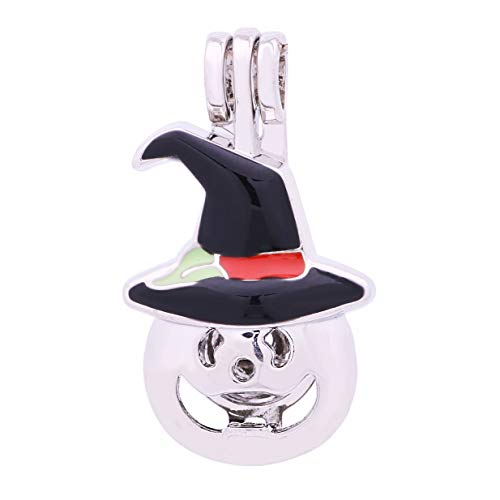 (10pcs Halloween Pumpkin Hat Enamel Cute Pearl Bead Cages Locket Scent Aromatic Essential Oil Diffuser Charm Pendant DIY Jewelry Making Charms (A487))