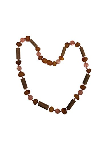 Baltic Amber and Hazelwood Necklace. Colic, Reflux and Teething. Individually knotted. For babies and toddlers. (Hazelwood/ Raw Lemon Amber/ Jade Violet) (Raw Honey/CherryQuartz and Hazelwood)