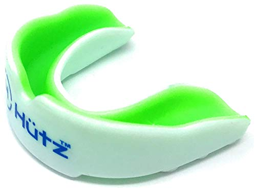 Hütz – Kids Mouth Guard + Free Case! – Designed for Children up to 10 Years Old – Kids mouthguard for Jiu Jitsu, MMA, Boxing, Football, Lacrosse and Other Contact Sports activities. (Inexperienced and White) – DiZiSports Store