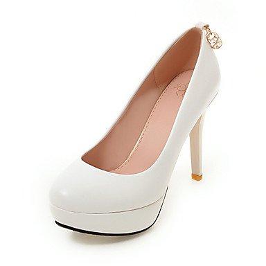 Talones de las mujeres Zapatos Primavera Verano Otoño Invierno Club de la PU para oficina y del partido de la carrera y del vestido de noche del tacón de aguja Rhinestone Negro Blanco Rosa White