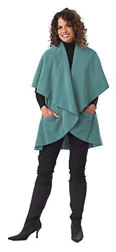 Annie's Wrap – Women's Fleece Shawl with Cascading Collar and Large Pockets - One Size Fits All (OS, Azure)