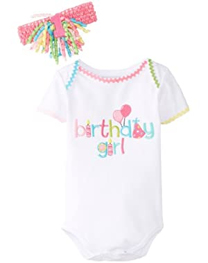 Baby-Girls Newborn Birthday Girl Crawler and HB Set