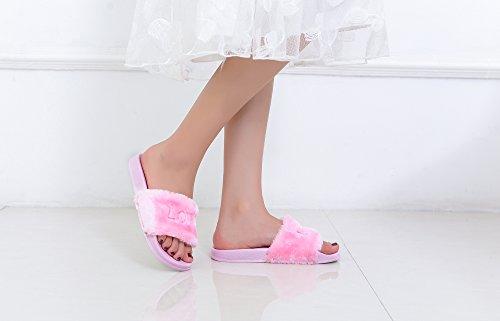Mila Dam Salome Womens Mode Päls Och Softey Halka På Tofflor Sandal, Rosa