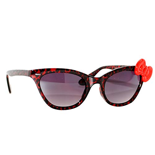 Hello Kitty Women Cat Eye Leopard Frame Sunglasses with Bow (Red Red ()