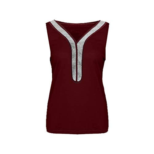 Women's Simple Solid Color Sleeveless V-Neck Fashion Sequined Loose Vest 2019 Women Long/Short Sleeve Red ()