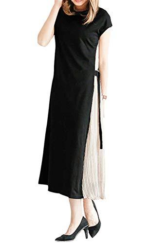 [해외]Ecrisdoo 사이드 주름 원피스 드레스 여성 롱 길이의 민소매 전환 슬리브 ミモレ 길이 긴 팔 반 팔 봄 여름가을 결혼 청첩장 초대 / Ecrisdoo Side Pleated One Piece Dress Women`s Long Length Sleeveless Switching Sleeve Mimore Length Long Sl...