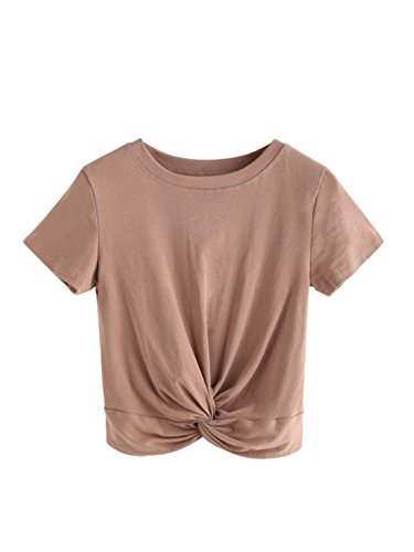 MakeMeChic Women's Summer Crop Top Solid Short Sleeve Tie Front T-Shirt Khaki S