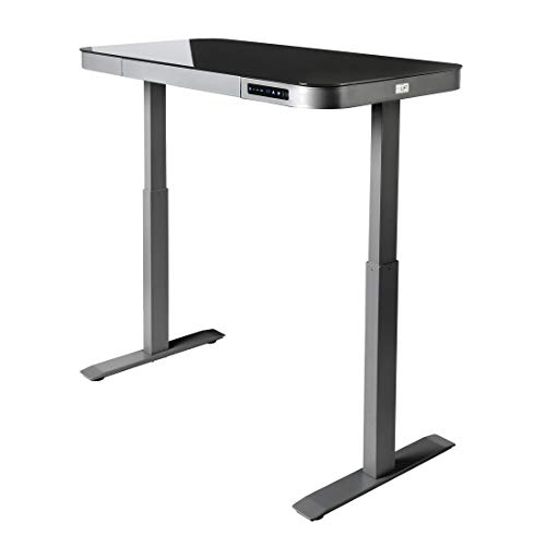 Seville Classics AIRLIFT Tempered Glass Electric Standing Desk with Drawer, 2.4A USB Ports, 3 Memory Buttons (Max. Height 47'') Dual Motors, Gray with Black Top by Seville Classics (Image #6)