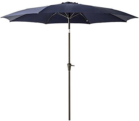 C-Hopetree 10 Patio Umbrella with Tilt and Aluminum Pole Market Style for Outdoor Table Garden Terrace Deck Balcony Yard, Navy Blue