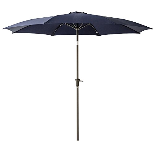 C-Hopetree 10 feet Round Patio Outdoor Market Umbrella with Crank Winder, Fiberglass Rib Tips, Push Button Tilt, Navy Blue