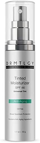 DRMTLGY Anti-Aging Tinted Moisturizer with SPF 46. Universal Tint. All-In-One Face Sunscreen and Foundation with Broad Spectrum Protection Against UVA and UVB Rays. 1.8 oz