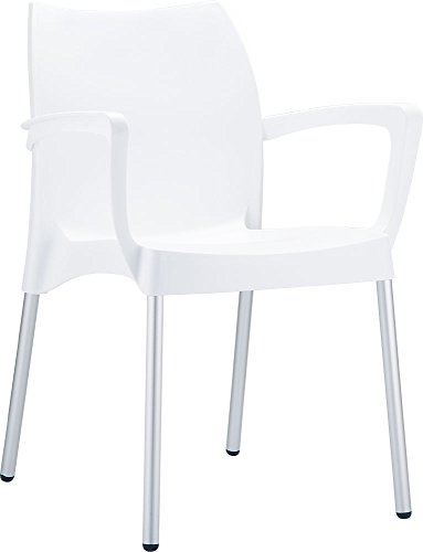 Clear Chair Store 047W Dolce Indoor and Outdoor Stacking Arm Chair (Set of 4), White For Sale