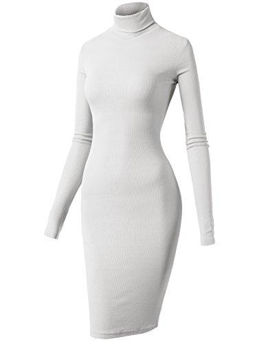 White Turtleneck Dress (H2H Women Long Sleeve High Neck Bodycon Short Dress WHITE US S/Asia S)
