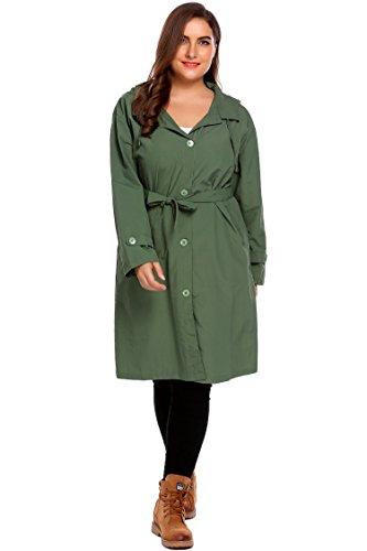 Women's Plus Size Packable Raincoat Hiking Travel Hooded Rain Jacket Trench Coat