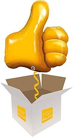 Globo inflado de helio con pulgar dorado de 35 pulgadas, se entrega en una caja: Amazon.es: Juguetes y juegos