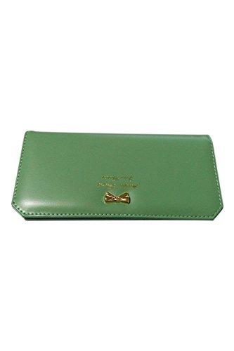 TOOGOO (R) Dame schlank Kunstleder lange Schmetterling Geldboerse Karten Geldbeutel Tasche (gruen)