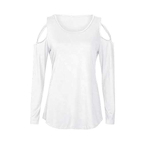 DEATU Women Strappy Hollow Out Cold Shoulder Solid Long Sleeve T-Shirt Tops Blouses (XXL, White)