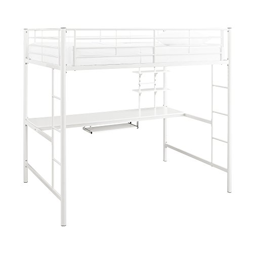 WE Furniture Full Metal Loft Bed with Workstation, White (Bed Workstation Metal With White Loft Twin)